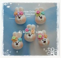 Easter Bunny Head Polymer Clay Charm Bead, Scrapbooking, Bow Center, Pendant…