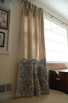 Stenciled drop cloth drapes- Hadn't seen this one. Just made my drop cloth drapes, just trying figure out what to do with them. Stenciled Curtains, Drapes Curtains, Cheap Curtains, Curtain Panels, Curtain Clips, White Curtains, Blackout Curtains, Drop Cloth Curtains Outdoor, Plain Curtains