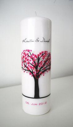 Hochzeitskerze - mit Liebesbaum