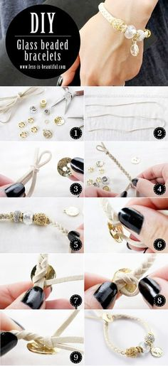 DIY:Glass Beaded Bracelets ガラスビーズを使った皮ひもブレスレットの作り方、手作り、ハンドメイド http://www.less-is-beautiful.com/20140530_glass-beaded-bracelets/ #Bracelet #DIY #Handmade #Accessories