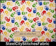 Kids Children Little Hands Red Blue Yellow Timeless Treasures Cotton Fabric YARD