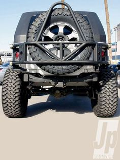 Off Road Evolution Construction: 13/4-inch 0.120 wall DOM tube Finish: Bare or semigloss black powdercoat Price: $1,150 Tire Carrier: Yes Rated Max Tire: 42-inch Other Information: Weld-in 3/16-inch frame caps sold separately ($50), carrier uses 11/4-inch Johnny Joint, has license plate mount, Hi-Lift mount, CB antenna mount, and safety flag mount. Requires Evo-Armor or Evo-Skinz. Contact: Off Road Evolution, 714/870-5515, evomfg.com