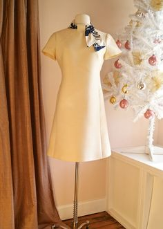 60s Party Dress // Vintage 1960s Super Chic Cream by xtabayvintage, $148.00