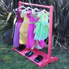 Childrens Dress Up Stand With Double Sided Shoe Rack / Other Colors Available