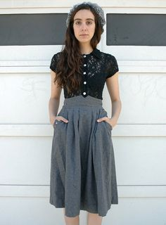 Vintage 1980's Charcoal Gray Wool High Waist, $45.00