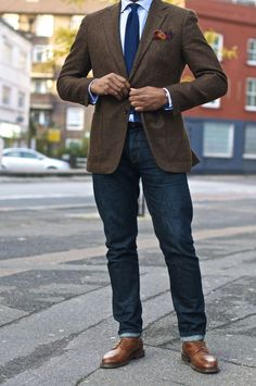 Business Casual Men's Outfit | Dark Jeans, Button-Down Shirt, Navy Blue Necktie, Brown Sport Coat | Men's Fashion & Style | Menswear | Moda Masculina | Shop at designerclothingfans.com