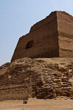 The pyramid at Meidum is thought to have been originally built for Huni, the last pharaoh of the Third Dynasty and was continued by Sneferu. The architect was a successor to the famous Imhotep, the inventor of the stone built pyramid. He modified Imhotep's pyramid design in a way. Because of its unusual appearance, the pyramid called el-haram el-kaddab — (Fake Pyramid) in Egyptian Arabic.