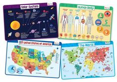merka Educational Placemats for Kids - Explorer Set - Bundle of 4 Mats - Human Body, USA and World Map and The Solar System - Non Slip, Washable and Reusable - Planets, Countries, States and Capitals Learning Tools, Kids Learning, States And Capitals, Use Of Plastic, Placemat Sets, New Things To Learn, Kids Education, Solar System, Educational Toys