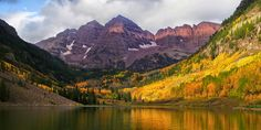 #3 THE MAROON BELLS - probably the most photographed mountains in North America, although The Tetons have the same claim.    14er Art : The Top 10 Most Beautiful Colorado 14ers