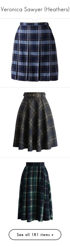 """Veronica Sawyer (Heathers)"" by child-of-jove ❤ liked on Polyvore featuring skirts, bottoms, blue skirt, lands' end, lands end skirts, blue tartan skirt, box-pleat skirt, grey, lined skirt and wool tartan skirt"