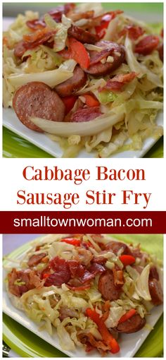 You are just a few minutes away from this delicious low carb Cabbage Bacon Sausage Stir Fry. This scrumptious recipe keeps things simple with just a handful of ingredients. NOTE: to be WB compliant use olive oil or coconut oil instead of canola oil. Pork Recipes, Low Carb Recipes, Cooking Recipes, Healthy Recipes, Paleo Sausage Recipes, Stir Fried Cabbage Recipes, Easy Recipes, Recipies, Cabbage And Bacon