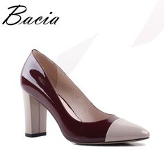 9eb0a679bc7c Bacia 2017 New Pointed toe 8.2cm High Heels Wine Leather Shoes Shallow  Elegant Fashion Shoes Spring Summer Women Pumps SA013
