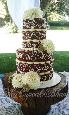 Red Velvet Naked/semi dressed wedding cake dahlias rustic country simple