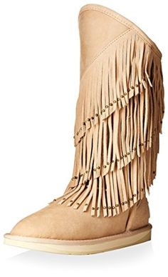 Australia Luxe Collective Womens Neilina Full Fringe Shearling Boot Sand 37 M EU6 M US *** Read more  at the image link.