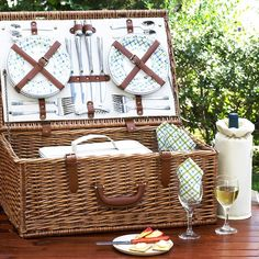 4-Person Gazebo Dorset Basket with Coffee Set and Blanket by Picnic at Ascot on Zola