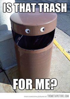Happy trash can appreciates your garbage.