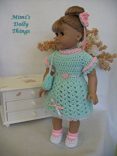 18 inch doll clothes for american girl and similar dolls, Mint green crocheted dress with pink underskirt, matching shoes and hair bow.