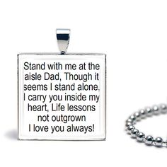 Stand with me at the aisle Dad. Though it by JackiesJewellery, $12.00