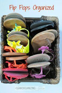 Simply organize flip flops with a basket :: OrganizinMadeFun.com