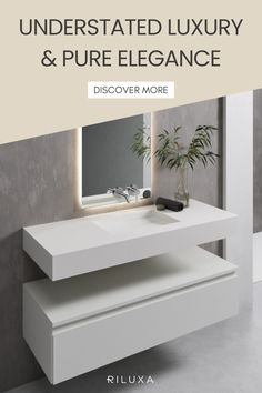 If your bathroom decor style tends towards understated luxury, then the unmistakable silky sensation of Corian in a classic Glacier White sink creates exactly the feeling you're dreaming of. The wall-mounted Alabama washbasin's clean lines are pure elegance. #bathroomsinks #corian #bathroomremodel #coriansink #bathroomsinkidea Corian Sink, Dupont Corian, Sink Countertop, Corian Colors, Wall Mounted Sink, White Sink, Single Sink, Alabama, Decor Styles