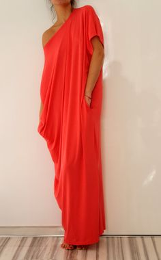 Coral Spring Summer Maxi oversized plus size elastic cotton caftan dress. Etsy, $79.00