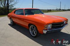 1971 Chevrolet Chevelle SS, 350, Automatic, Working AC, Power Steering and Power Disc Brakes. Runs, drives and sounds as good as it looks. Beautiful professionally done custom paint with ghost Super Sport stripes with hint of flames on the hood. Custom upgraded modern stereo system. As solid of car as you will find. Starts right up on the first crank Chevrolet Chevelle, Super Sport, Ac Power, Custom Paint, Big Boys, Vintage Cars, Stripes, Classic, Modern