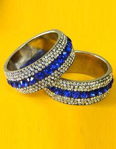 #Bangles, #Bracelets & #Kadas - Blue & Silver Stone Studded Bangles Costs Rs. 1,320. #Jewellery. BUY it here: http://www.artisangilt.com/jewellery/bangles-bracelets-kadas/blue-silver-stone-studded-bangles.html?ref=pin