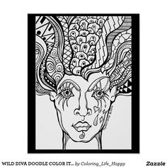 WILD DIVA DOODLE COLOR IT YOURSELF POSTER, 16X20 POSTER