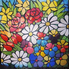 Spring Flowers #springflowers #daisies#daffodils | by Joolz21 (julie) Mosaic Garden Art, Mosaic Tile Art, Mosaic Flower Pots, Mosaic Artwork, Mosaic Diy, Mosaic Crafts, Mosaic Glass, Mosaic Mirrors, Fused Glass