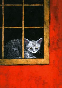 Cat at the window - Illustration by Japanese artist Yusuke Yonezu Asian Cat, All About Cats, Sketchbook Inspiration, Cat Drawing, Crazy Cats, Cat Art, Illustrations Posters, Cats And Kittens, Illustration Art