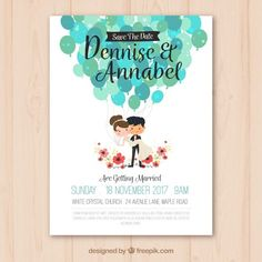 Wedding invitation with nice couple Free Vector