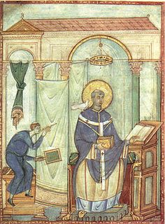 St. Gregory the Great. Pope, Monk, Dialogist, Church Father & Doctor of the Church. D. 604 AD. Western plainchant, standardized in the late 8th century, was attributed to Pope Gregory I & so took the name of Gregorian chant.  As the Pope was dictating his homilies on Ezechiel a curtain was drawn between his secretary & himself. As the Pope remained silent for long periods of time, the servant made a hole in the curtain & looking through, beheld a dove seated upon Gregory's head.  YBH