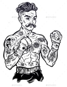 Tattooed boxer fighter, player in vintage style with fighting with wrapped knuckles. Traditional tattoo style retro p. Flash Art Tattoos, Retro Tattoos, Vintage Style Tattoos, Tattoo Vintage, Boxing Tattoos, Leg Tattoos, Black Tattoos, Body Art Tattoos, Tattoos For Guys