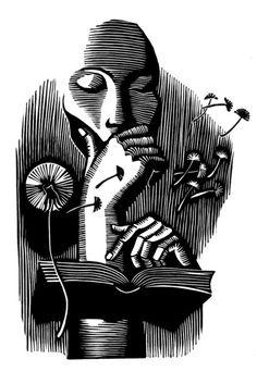 Natalia Moroz  'Absorbed', 2003 Linoleum Print Open Edition