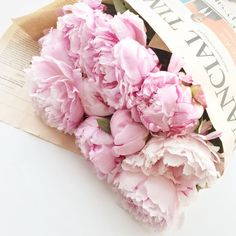 Enormous bunches of peonies + Sunday papers