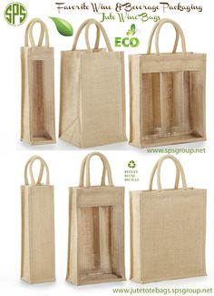 2 x Strong Two Jar Jute Hessian Gift Bags Natural With Windows For Any Occasion