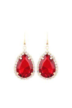 Classic Crystal Teardrops in Ruby