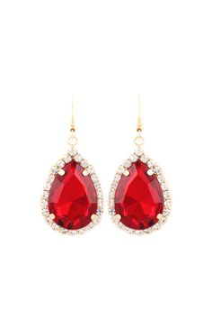 Classic Crystal Teardrops in Ruby
