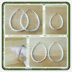 """💟 NWOT Woman's Oval Silver Hoops 💟 Brand New Never Worn Silver Oval Hoop Earrings For Pierced Ears. These Are Approximately 2"""" Long Excellent Condition Ordered From Jcpenney Just Never Wore Them. These Are A Great Addition To Any Wardrobe 🚫 PAYPAL 🚫 TRADES 🚫 LOWBALL OFFERS 💟 jcpenney Jewelry Earrings"""