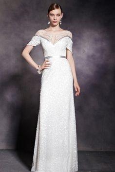 高貴なアナタへ☆ エレガントデザインのホワイト系高級ロングドレス♪ - ロングドレス・パーティードレスはGN|演奏会や結婚式に大活躍!