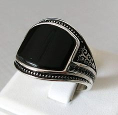 Handmade Turkish Natural Black Agate Stone 925 Sterling Silver Men's Ring #992