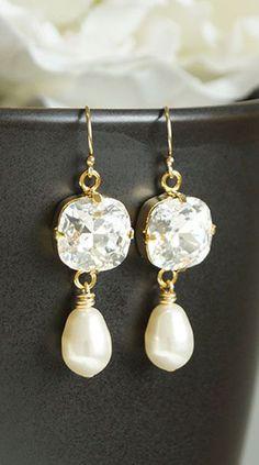 Gold Drop Earrings, Swarovski Crystal