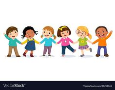 Group of happy kids holding hands Royalty Free Vector Image Cartoon Images, Cartoon Kids, Kids Background, Christmas Drawing, School Decorations, Kids Wallpaper, Lessons For Kids, Memory Books, Art Classroom
