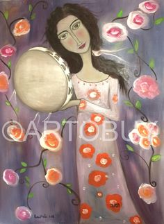 Miriam and the Tambourine Israeli Hebrew Jewish Art Oil by Roni Pinto