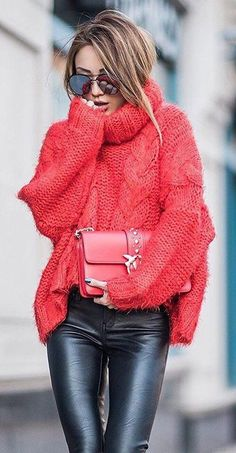 #winter #fashion / Red Turtleneck + Black Leather Leggings