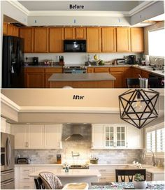 Kitchen Before and After- Our DIY IKEA Kitchen RemodelYou can find Before and after kitchen remodel and more on our website.Kitchen Before and After- Our DIY IKEA Kitchen Remodel Cocina Diy, Budget Kitchen Remodel, Kitchen Remodeling, Remodeling Ideas, Kitchen Makeovers, Farmhouse Remodel, Farmhouse Sinks, Diy Kitchen Makeover, Ranch Kitchen Remodel
