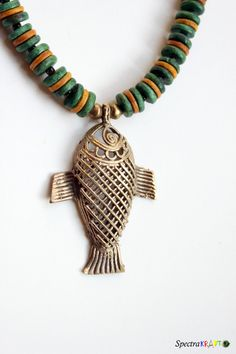 Handmade wood and dokra necklace  Fish Pendant  by Spectrakraft