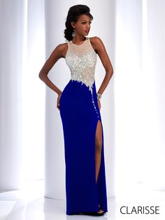 Clarisse 2016 long prom dress style 2764. Sparkly, sexy fitted prom dress with slit. Available in red, black and blue. http://clarisse.us/locator/index.php