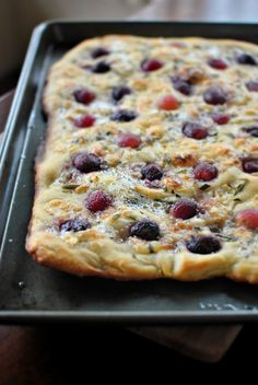 Roasted Red Grape, Brie and Rosemary Flatbread