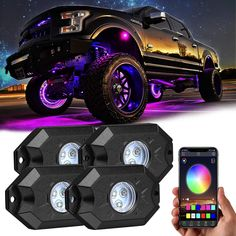 RGB LED Rock Lights, Yvoone-Auto 4 Pods Underglow Multicolor Light with App Control, Timing Light Function, Music Mode,Waterproof Music Rock Lights for JEEP Off Road Truck Truck Bed Lights, Led Lights For Trucks, Off Road Led Lights, Car Lights, Future Trucks, Future Car, Truck Wheels, Jeep Truck, Luz Led